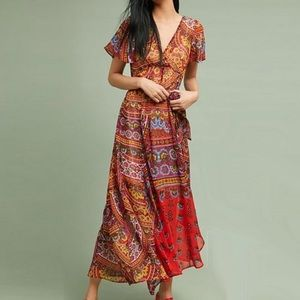 Anthropologie Murol Wrapped Maxi Dress